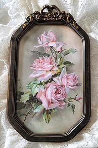 C Klein pink roses print antique French ribbon roses convex frame