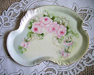 Guerin French Limoges roses porcelain vanity tray
