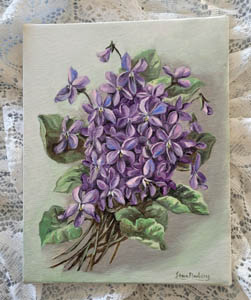 vintage violets oil on canvas painting